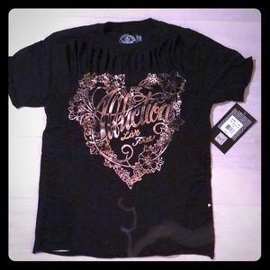 Black short sleeve shirt Affliction Sz XS
